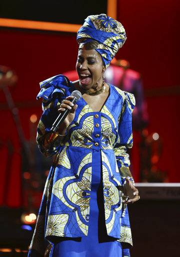 Jazzmeia Horn performs at the 60th annual Grammy Awards at Madison Square Garden on Sunday, Jan. 28, 2018, in New York. (Photo by Matt Sayles/Invision/AP)