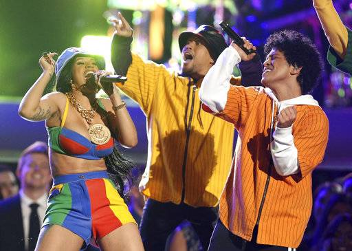 "Bruno Mars and Cardi B perform ""Finesse"" at the 60th annual Grammy Awards at Madison Square Garden on Sunday, Jan. 28, 2018, in New York. (Photo by Matt Sayles/Invision/AP)"