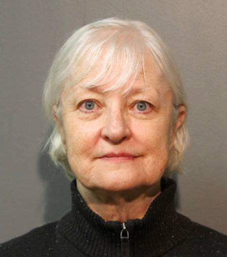FILE - This January 2018, file photo provided by the Chicago Police Department shows Marilyn Hartman. Hartman, who authorities say is a serial stowaway and sneaked onto a plane in Chicago earlier this month, and made it to London has been arrested again  Sunday, Jan. 28, 2018, after being spotted at O'Hare International Airport. (Chicago Police Department via AP)