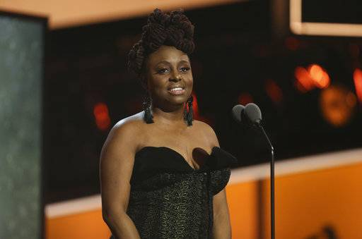 Ledisi speaks at the 60th annual Grammy Awards at Madison Square Garden on Sunday, Jan. 28, 2018, in New York. (Photo by Matt Sayles/Invision/AP)