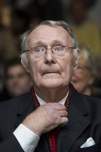 FILE --- In this Dec. 3, 2012  file photo, Ingvar Kamprad, founder of Swedish multinational furniture retailer IKEA, is pictured  in Lausanne, Switzerland.  IKEA confirmed Sunday Jan. 28, 2018 Ingvar Kamprad, the IKEA founder who created a global furniture empire, has died at 91.  (Jean-Christophe Bott/Keystone via AP,file)