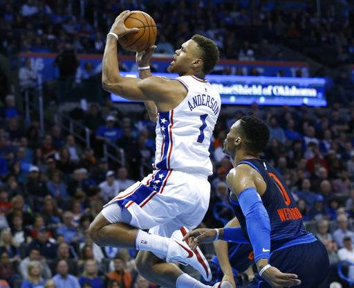 Philadelphia 76ers guard Justin Anderson (1) goes to the basket in front of Oklahoma City Thunder guard Russell Westbrook, right, in the first half of an NBA basketball game in Oklahoma City, Sunday, Jan. 28, 2018.