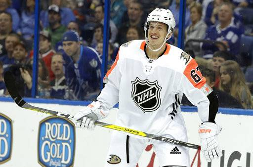 Pacific Division's Rickard Rakell, of the Anaheim Ducks, celebrates after scoring during the NHL hockey All-Star game with the Atlantic Division Sunday, Jan. 28, 2018 in Tampa, Fla.