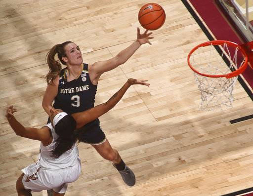 Notre Dame guard Marina Mabrey (3) goes for a layup as Florida State guard Nausia Woolfolk defends in the first half of an NCAA college basketball game Sunday, Jan. 28, 2018, in Tallahassee, Fla.