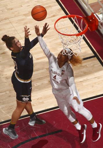 Notre Dame forward Jessica Shepard (23) makes a basket over the defense of Florida State guard AJ Alix (4) in an NCAA college basketball game against Sunday, Jan. 28, 2018, in Tallahassee, Fla.