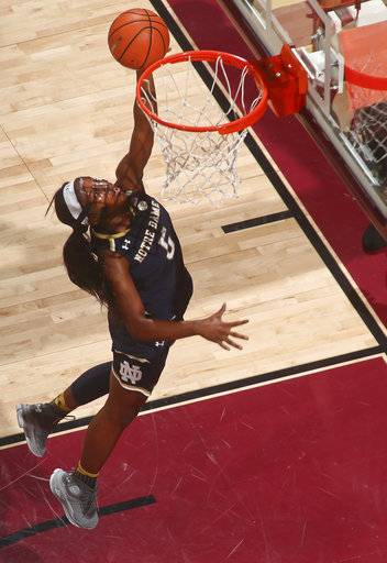 Notre Dame guard Jackie Young (5) makes a layup in the first quarter of an NCAA college basketball game against Florida State, Sunday, Jan. 28, 2018, in Tallahassee, Fla.