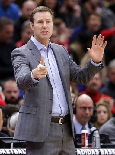 Chicago Bulls head coach Fred Hoiberg directs his team during the first half of an NBA basketball game against the Milwaukee Bucks, Sunday, Jan. 28, 2018, in Chicago.