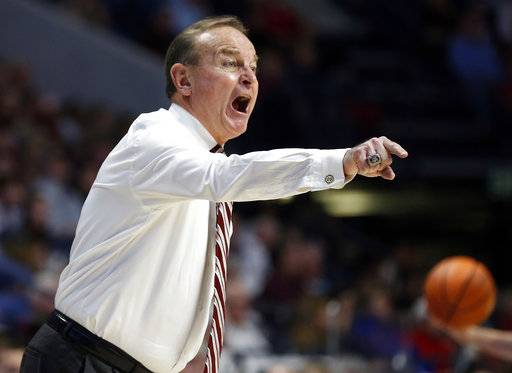 Mississippi State head coach Vic Schaefer calls out to his players during the second half of the NCAA college basketball game against Mississippi in Oxford, Miss., Sunday, Jan. 28, 2018. Mississippi State won 69-49.