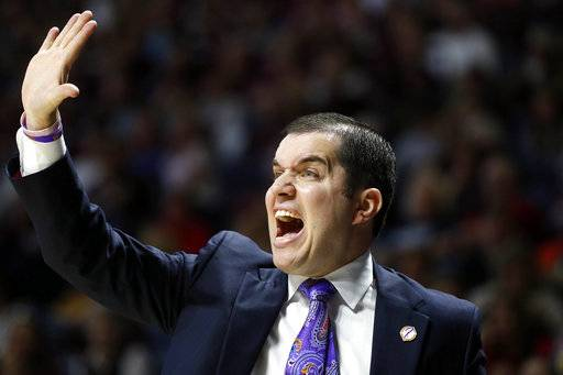 Mississippi head coach Matt Insell calls out to his players during the first half of the NCAA college basketball game against Mississippi State in Oxford, Miss., Sunday, Jan. 28, 2018. Mississippi State won 69-49.