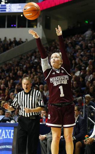 Mississippi State guard Blair Schaefer (1) shoots a three-point basket during the first half of an NCAA college basketball game against Mississippi in Oxford, Miss., Sunday, Jan. 28, 2018.