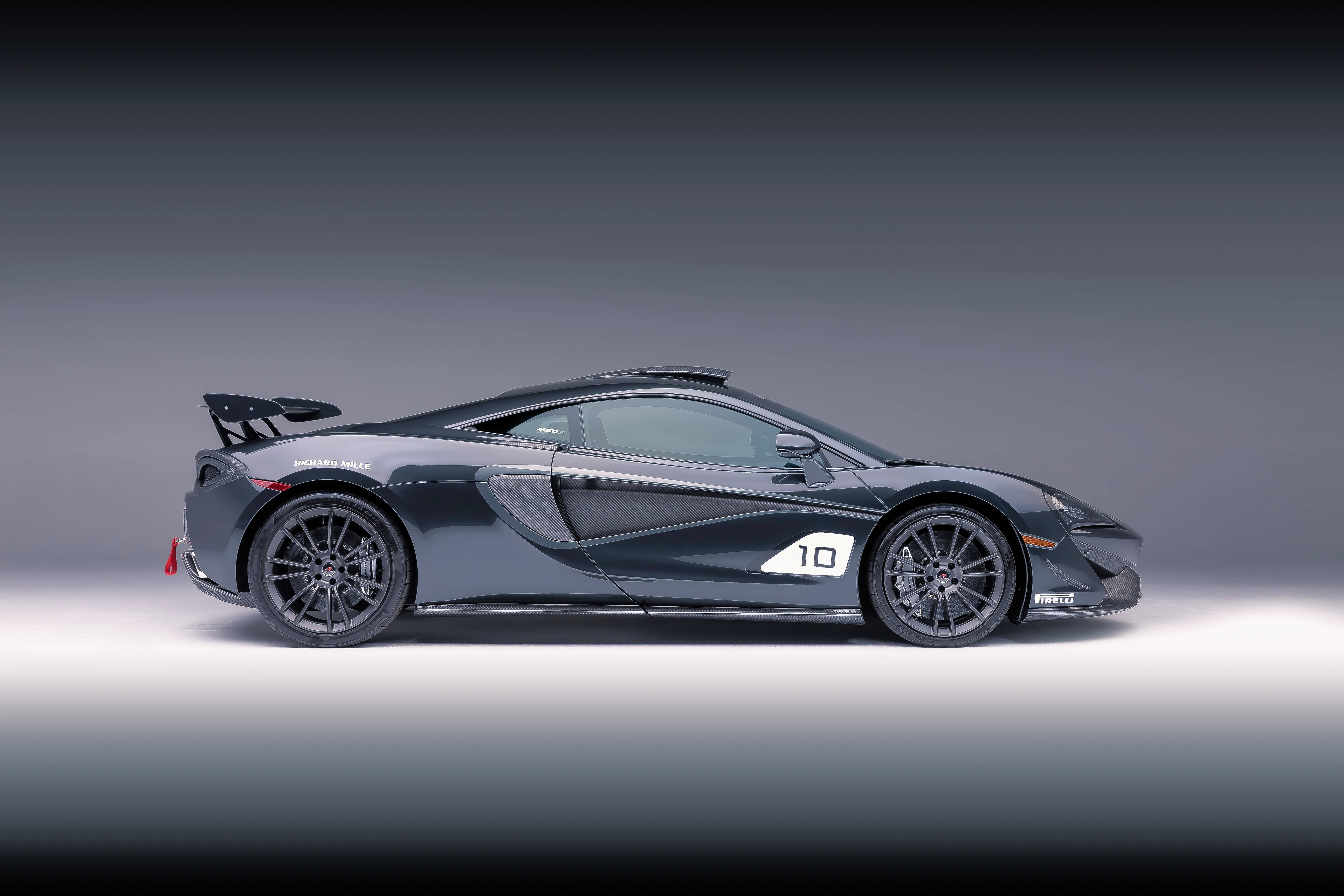 Courtesy of McLarenCar #10 MSO X is painted Ueno Grey, highlighted by black accents. It's inspired by the F1 GTR chassis #01R which raced and finished 1st overall at the 24 hours of Le Mans in 1995.