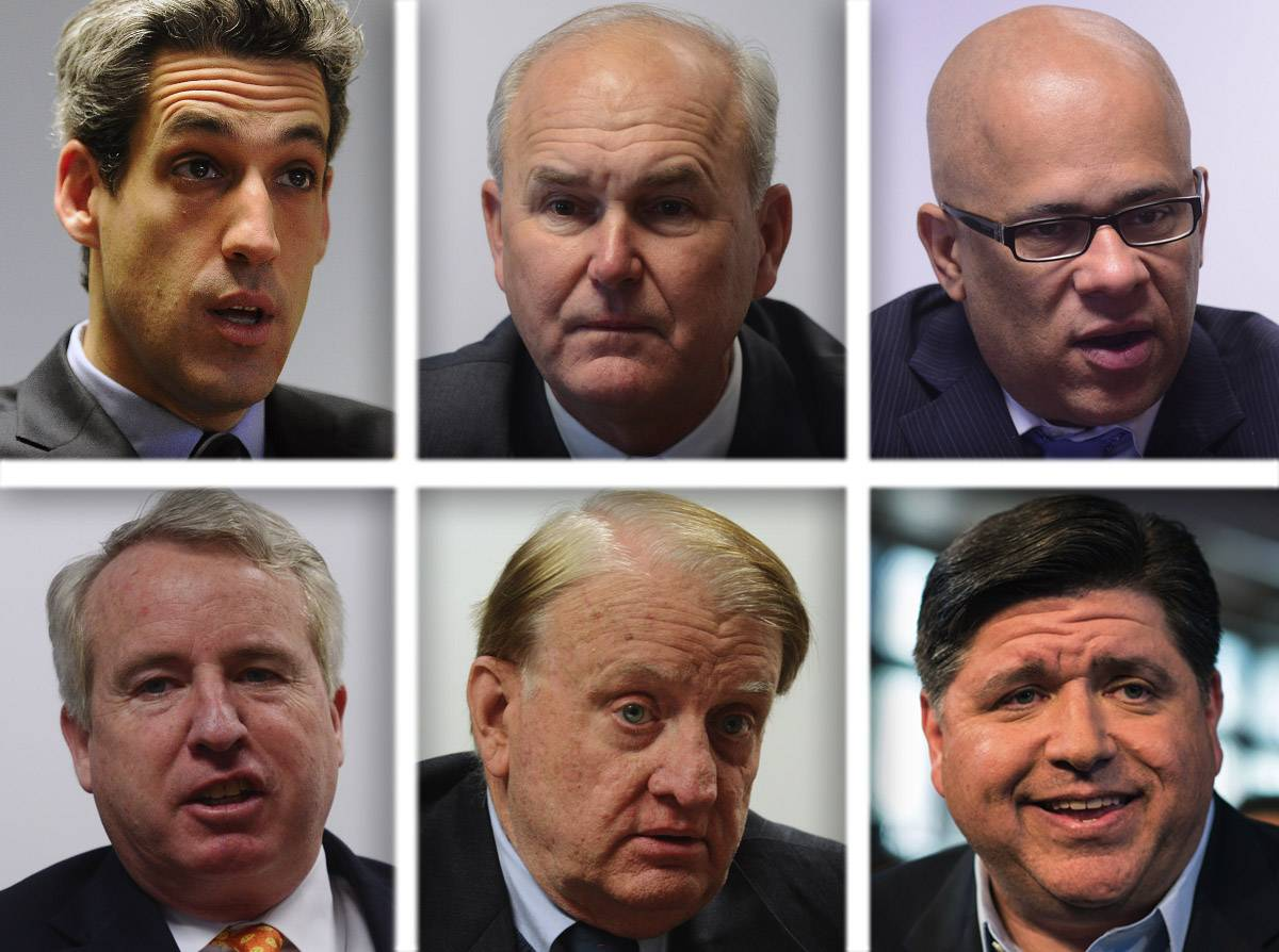 The six Democratic candidates for Illinois governor, clockwise from upper left: Daniel Biss; Bob Daiber; Tio Hardiman; J.B. Pritzker, Robert Marshall and Chris Kennedy.