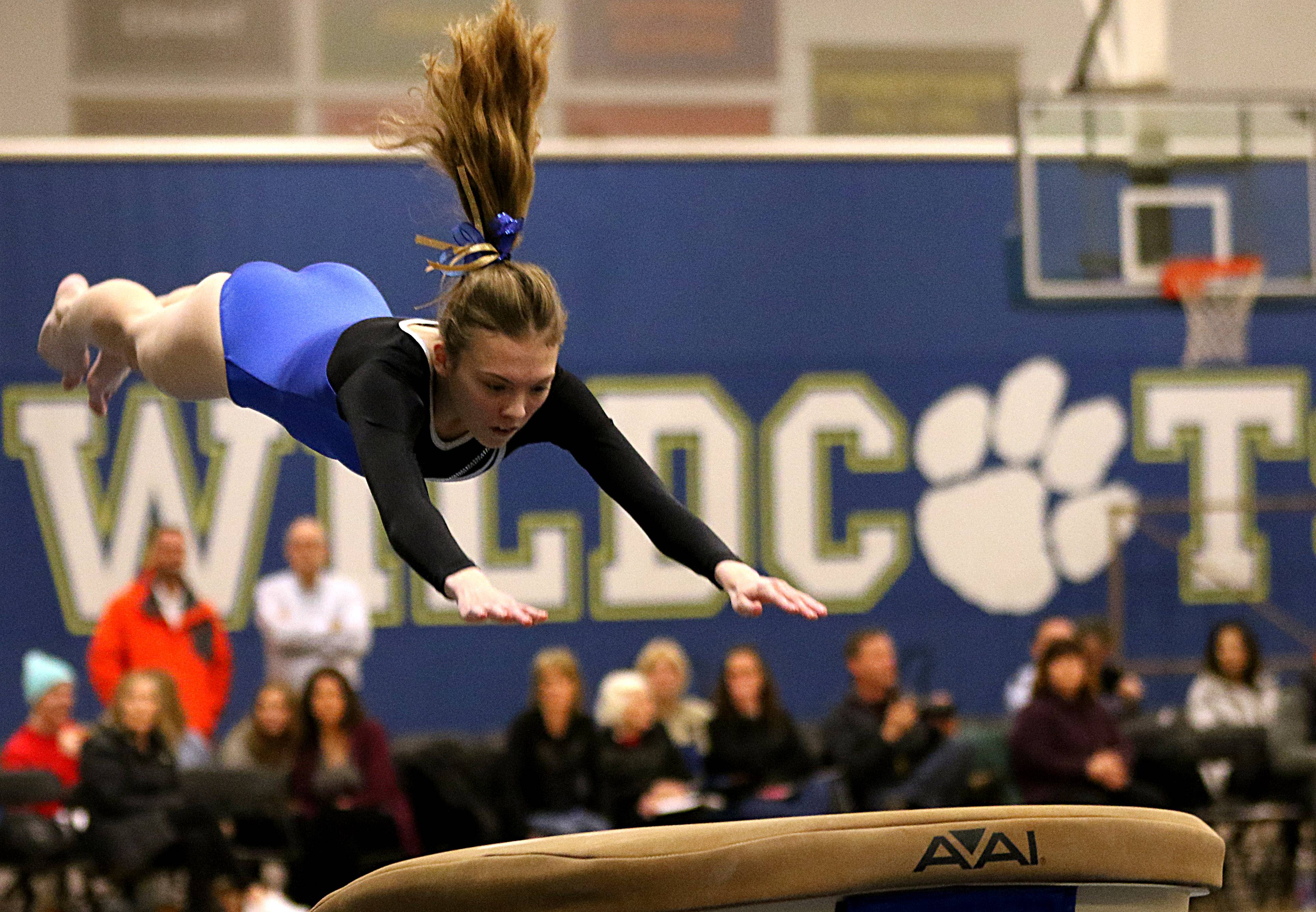Wheeling's Emily Lucas performs on the vault during regional gymnastics action at Wheeling on Monday evening.