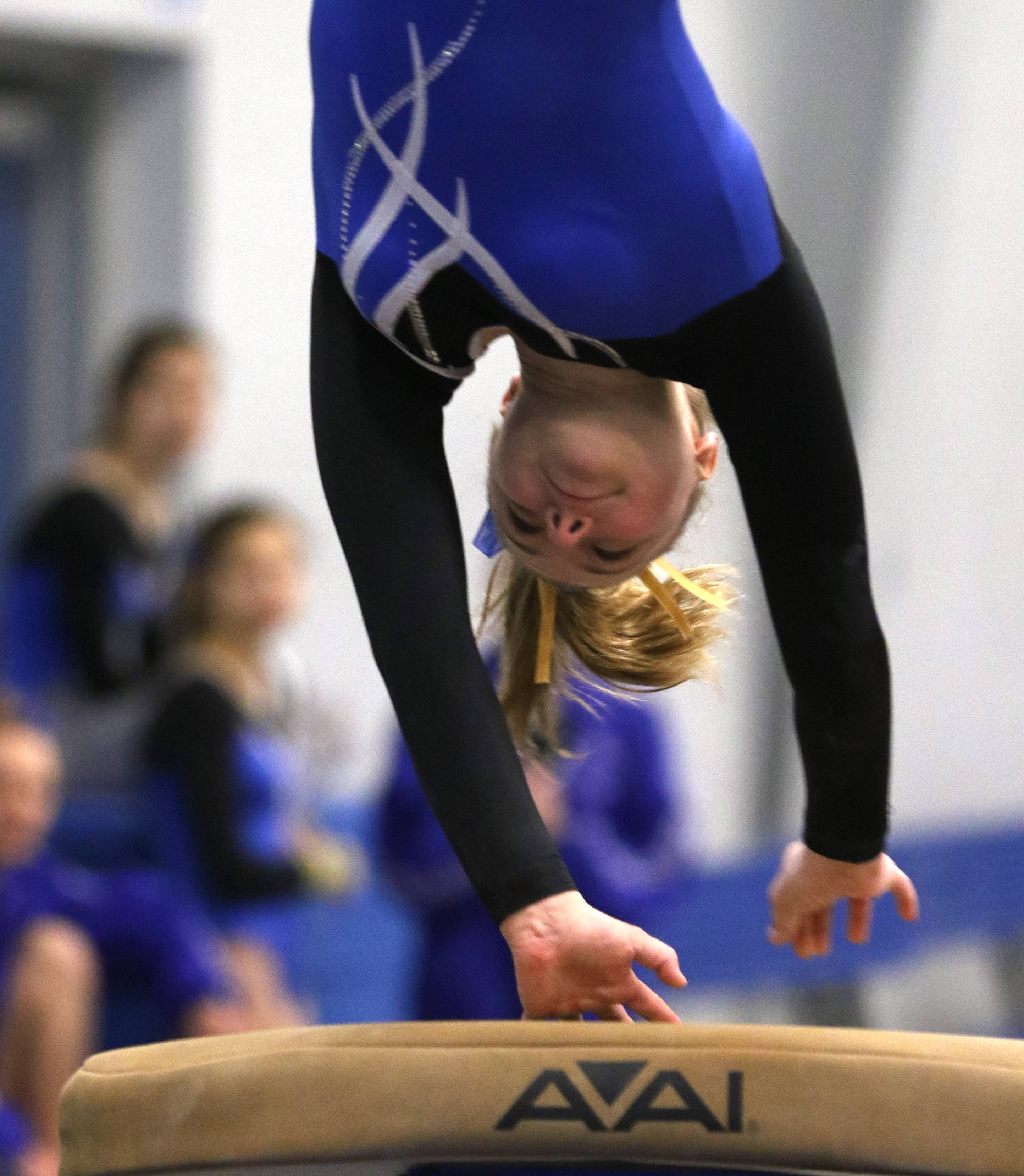 Wheeling's Anna Emery performs on the vault during regional gymnastics action at Wheeling on Monday evening.