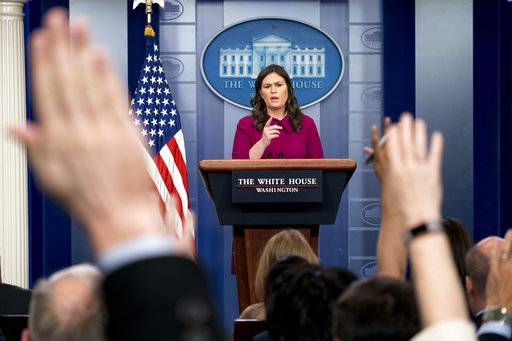 White House press secretary Sarah Huckabee Sanders calls on a reporter during the daily press briefing at the White House, Monday, Jan. 29, 2018, in Washington. Sanders discussed immigration, President Donald Trump's upcoming State of the Union Address to Congress and other topics.
