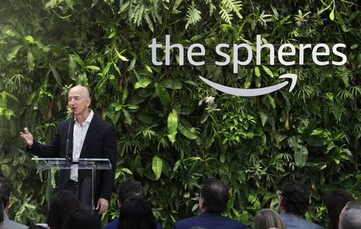 Jeff Bezos, the CEO and founder of Amazon.com, speaks during the grand opening of the Amazon Spheres, Monday, Jan. 29, 2018, in Seattle.