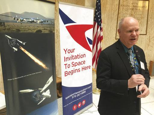 Dan Hicks, CEO of Spaceport America, traveled to the New Mexico state Capitol in Santa Fe, N.M., Monday, Jan. 29, 2018, to seek greater confidentiality for tenants of his tax-payer funded spacecraft launch facility in southern New Mexico. Hicks says greater secrecy provisions are needed to compete for new aerospace-industry tenants against competition from a growing list of government-subsidized launch facilities, from Virginia to Alaska.