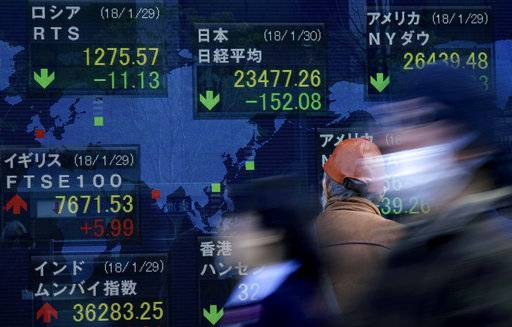 A man looks at an electronic stock indicator of a securities firm in Tokyo, Tuesday, Jan. 30, 2018. Asian shares were lower Tuesday following Wall Street's biggest loss in more than four months.