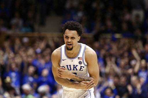Duke's Gary Trent Jr. reacts following a basket against Notre Dame during the second half of an NCAA college basketball game in Durham, N.C., Monday, Jan. 29, 2018.