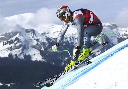 FILE - In a Thursday, Jan. 11, 2018 file photo, United States' Steven Nyman competes during an alpine ski, men's World Cup downhill training, in Wengen, Switzerland. U.S. Ski and Snowboard said Monday, Jan. 29 that three-time Olympian Steven Nyman will miss the Pyeonchang Games after tearing a ligament in his right knee.