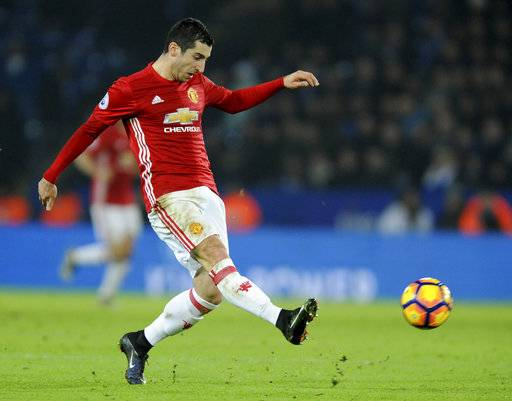 FILE - In this Sunday, Feb. 5, 2017 file photo, Manchester United's Henrikh Mkhitaryan controls the ball, during the English Premier League soccer match between Leicester City and Manchester United at the King Power Stadium in Leicester, England. Mkhitaryan is set to make his debut for Arsenal at Swansea after moving from Manchester United in a deal that saw Alexis Sanchez go the other way. Mkhitaryan endured an underwhelming 18-month spell at Old Trafford and wasn't the same player who joined for $33.5 million after starring in the German league for Borussia Dortmund.