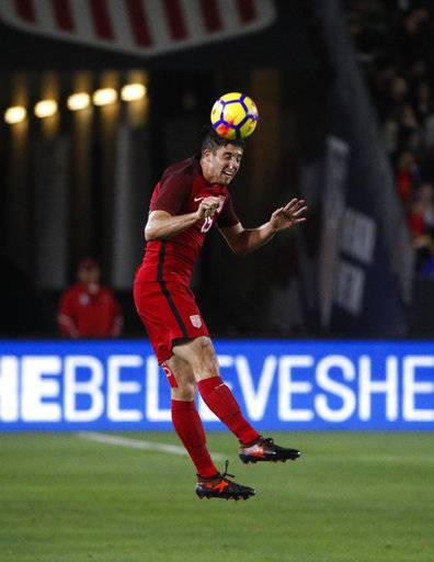 United States defender Matt Polster heads the ball during the second half of an international friendly soccer match against Bosnia and Herzegovina Sunday, Jan. 28, 2018, in Carson, Calif. The game ended in a 0-0 draw.