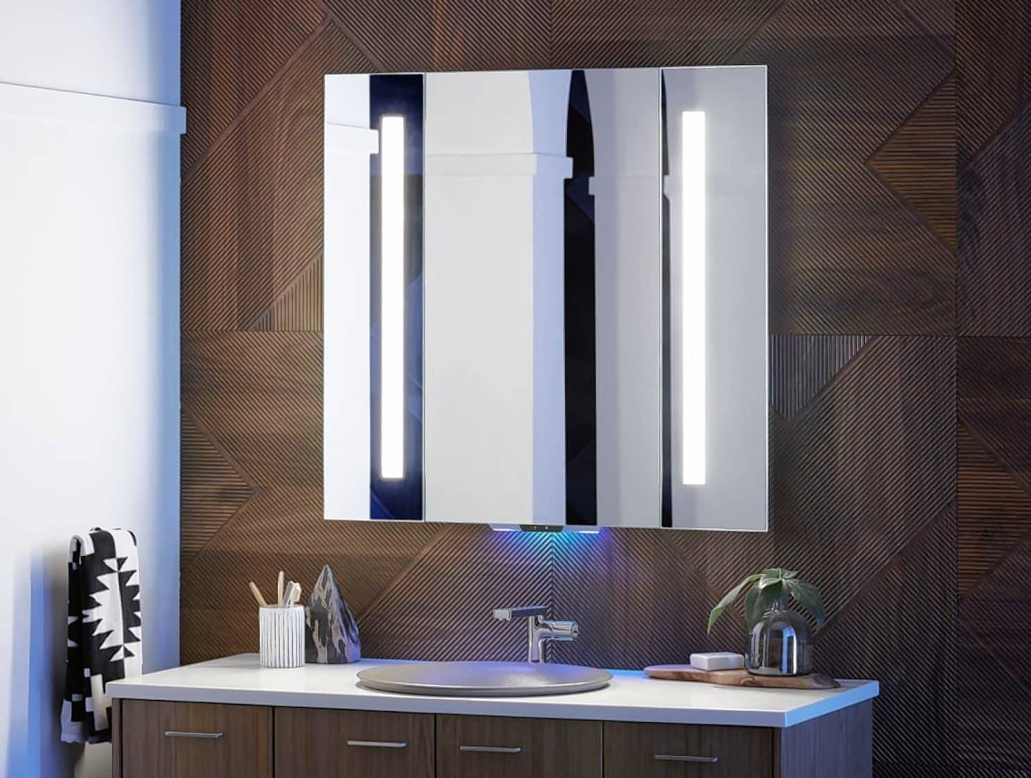 The Alexa-enabled Verdera mirror plays music and podcasts.