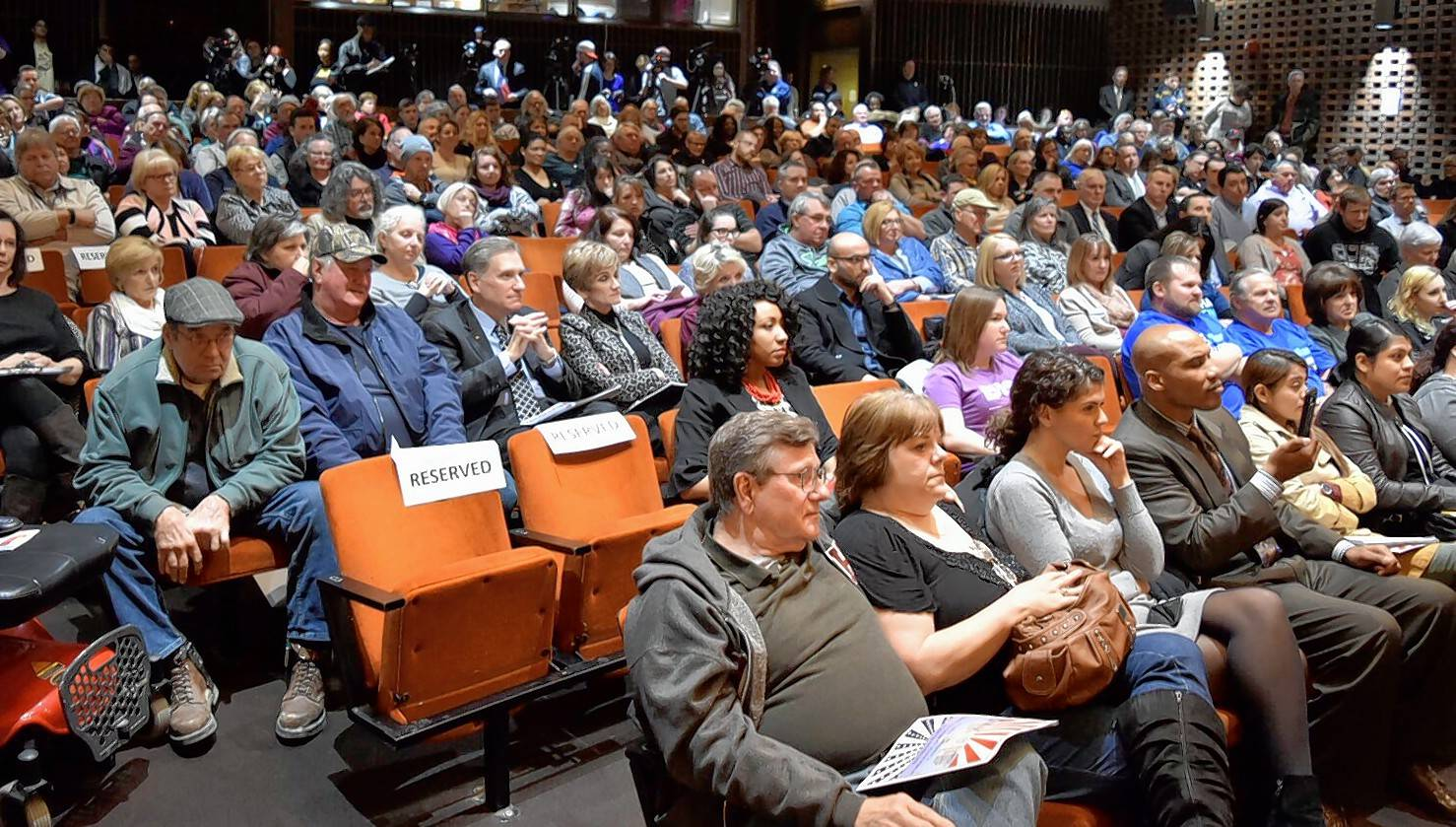 The SIU Student Center Auditorium was packed to near capacity for Tuesday's forum.