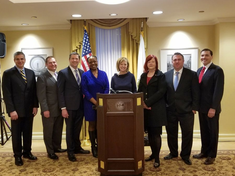Republican gubernatorial candidate state Rep. Jeanne Ives is flanked by local officials, from left, Cook County Board of Review Commissioner Dan Patlak, Rep. Allen Skillicorn of East Dundee, Rep. Peter Breen of Lombard, Wheatland Township Trustee Raquel Mitchell, Rep. Margo McDermed of Frankfort, Naperville Township Commissioner Warren Dixon and Rep. Tom Morrison of Palatine.
