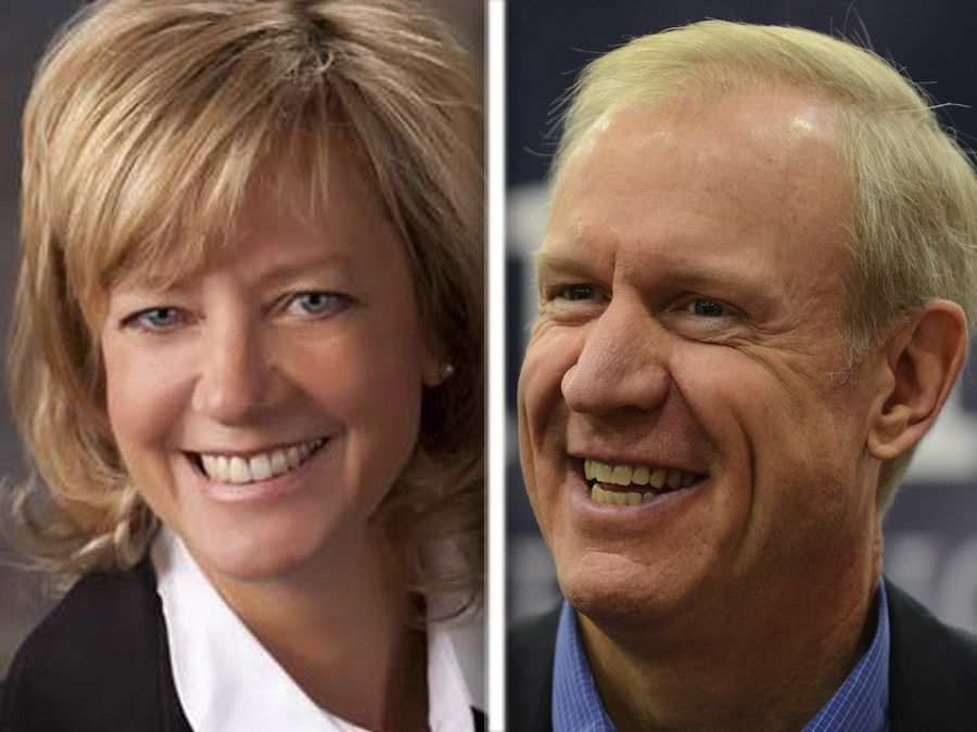Jeanne Ives, left, and incumbent Bruce Rauner, right, are vying for the Republican nomination for governor.