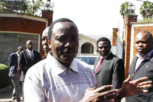 "Former Kenyan vice president Kalonzo Musyoka talks to members of the media,outside his home, in Nairobi, Kenya, Wednesday, Jan. 31, 2018. Musyoka said Wednesday gunshots were fired at his home and a grenade detonated in what he described as ""an assassination attempt.�"