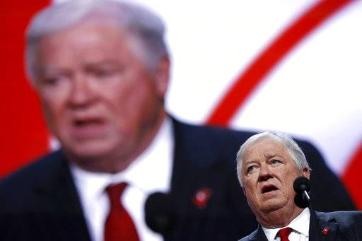 FILE - In a July 18, 2016 file photo, former Mississippi Gov. Haley Barbour speaks during first day of the Republican National Convention in Cleveland. Barbour says he will pay a fine after being arrested with a loaded handgun in his briefcase as he went through an airport security checkpoint on Jan. 2, 2018, at at Jackson-Medgar Wiley Evers International Airport in Jackson, Miss.