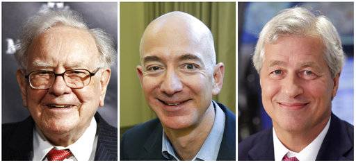 "This combination of photos from left shows Warren Buffett on Sept. 19, 2017, in New York, Jeff Bezos, CEO of Amazon.com, on Sept. 24, 2013, in Seattle and JP Morgan Chase Chairman and CEO Jamie Dimon on July 12, 2013, in New York. Buffett's Berkshire Hathaway, Amazon and the New York bank JPMorgan Chase are teaming up to create a health care company announced Tuesday, Jan. 30, 2018, that is ""free from profit-making incentives and constraints."""
