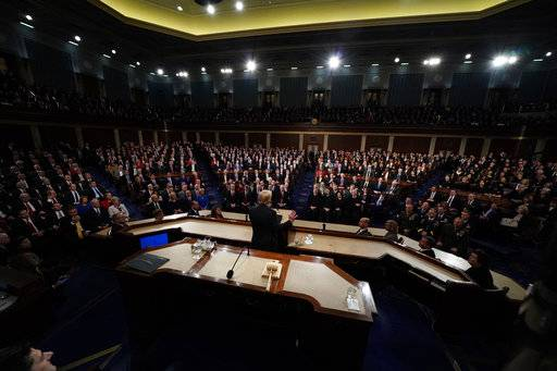 President Donald Trump delivers his State of the Union address to a joint session of U.S. Congress on Capitol Hill in Washington, Tuesday, Jan. 30, 2018. (Jim Bourg/Pool via AP)