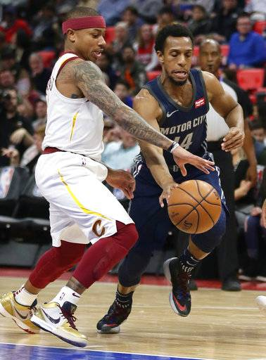Detroit Pistons guard Ish Smith (14) drives to the basket against Cleveland Cavaliers guard Isaiah Thomas (3) during the first half of an NBA basketball game Tuesday, Jan. 30, 2018, in Detroit.