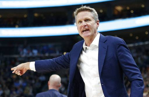 Golden State Warriors head coach Steve Kerr shouts in the direction of an official in the first half during an NBA basketball game against the Utah Jazz Tuesday, Jan. 30, 2018, in Salt Lake City.