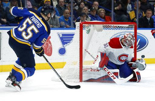 St. Louis Blues' Colton Parayko (55) shoots wide of Montreal Canadiens goaltender Carey Price during the second period of an NHL hockey game Tuesday, Jan. 30, 2018, in St. Louis.