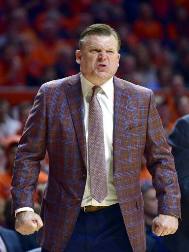 Illinois coach Brad Underwood reacts from the bench during the first half of the team's NCAA college basketball game against Rutgers in Champaign, Ill., Tuesday, Jan. 30, 2018.