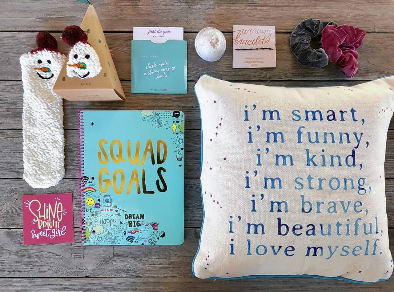 Inspirational pillows, journals and hair accessories are among the items included in a Bloom box for girls ages 8 to 12 from a new business called STRONG Self(ie), which Naperville residents Stephanie Szewczyk and Kristen Hutchison launched last fall.