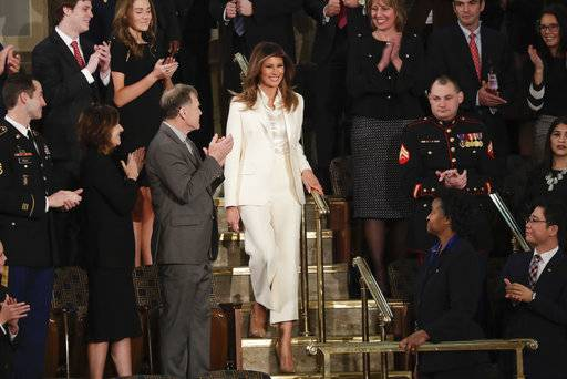 First lady Melania Trump arrives before the State of the Union address to a joint session of Congress on Capitol Hill in Washington, Tuesday, Jan. 30.