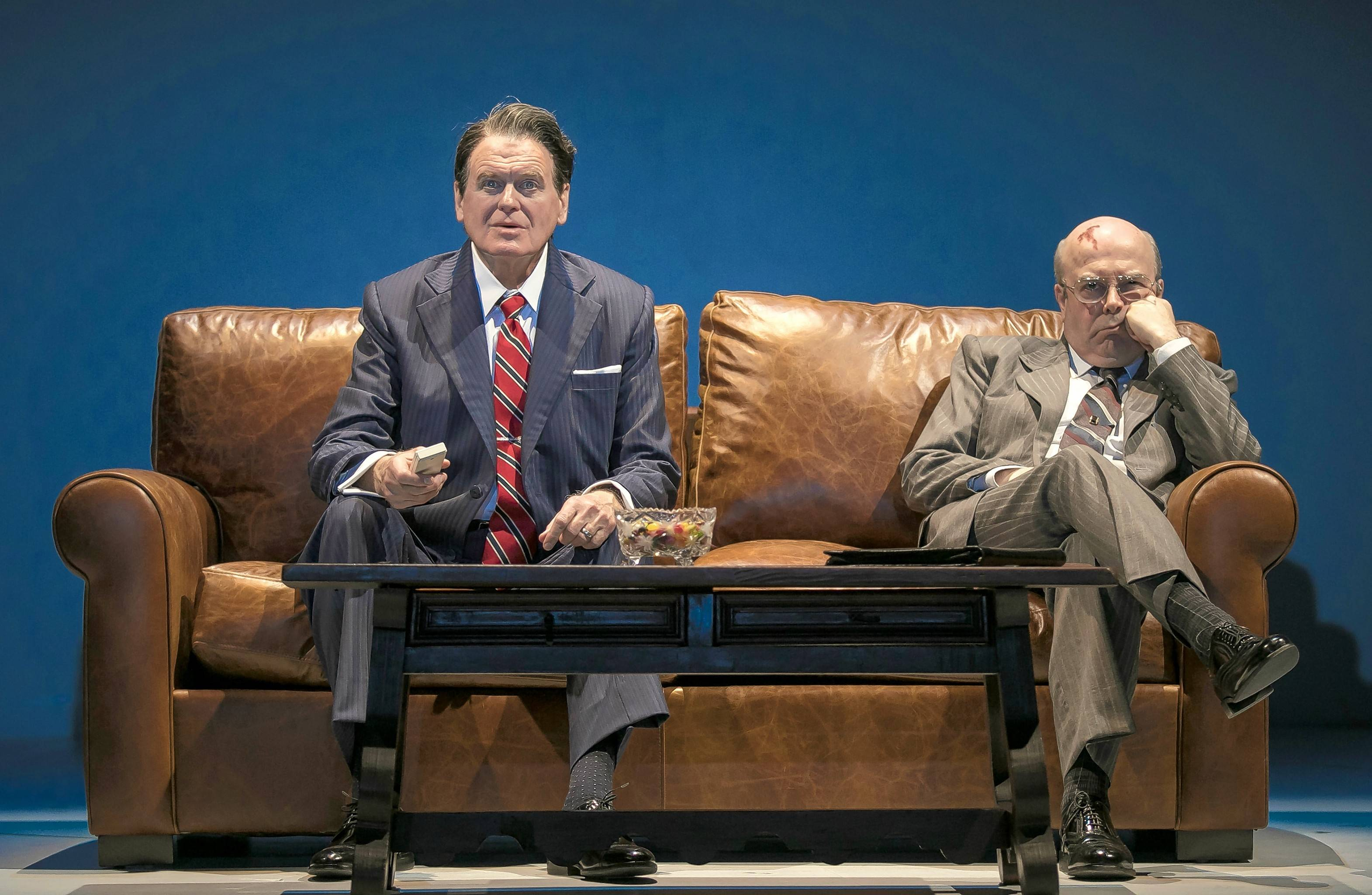 "U.S. President Ronald Reagan (Rob Riley) insists on watching a 1950s film with Soviet leader Mikhail Gorbachev (William Dick) during the 1985 Geneva Summit in ""Blind Date."" Rogelio Martinez's political play continues at Chicago's Goodman Theatre through Sunday, Feb. 25."