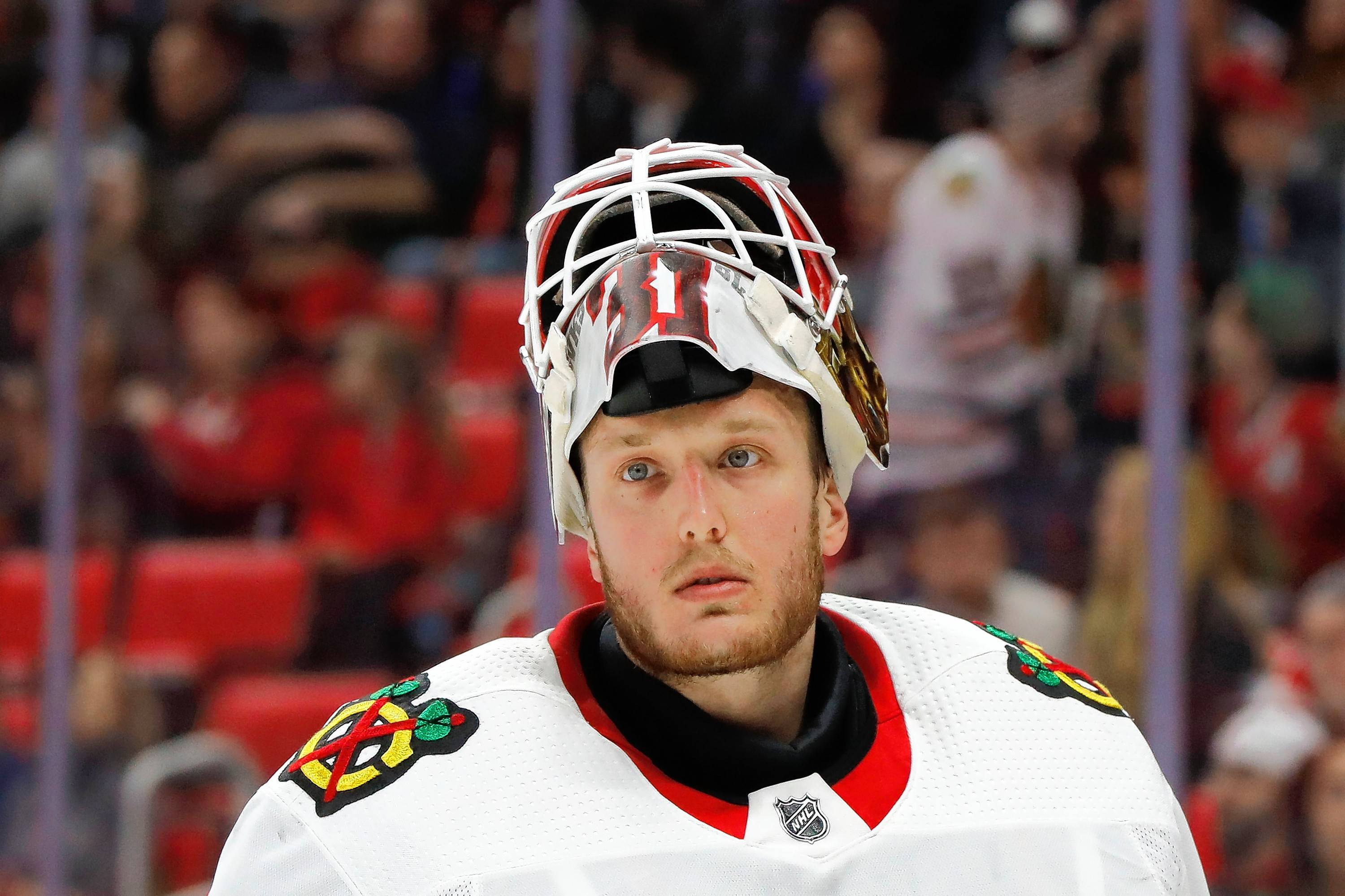 "Anton Forsberg turns in another impressive performance during the Chicago Blackhawks' 2-1 victory over Nashville on Tuesday. Brent Seabrook: ""He was huge for us tonight."""