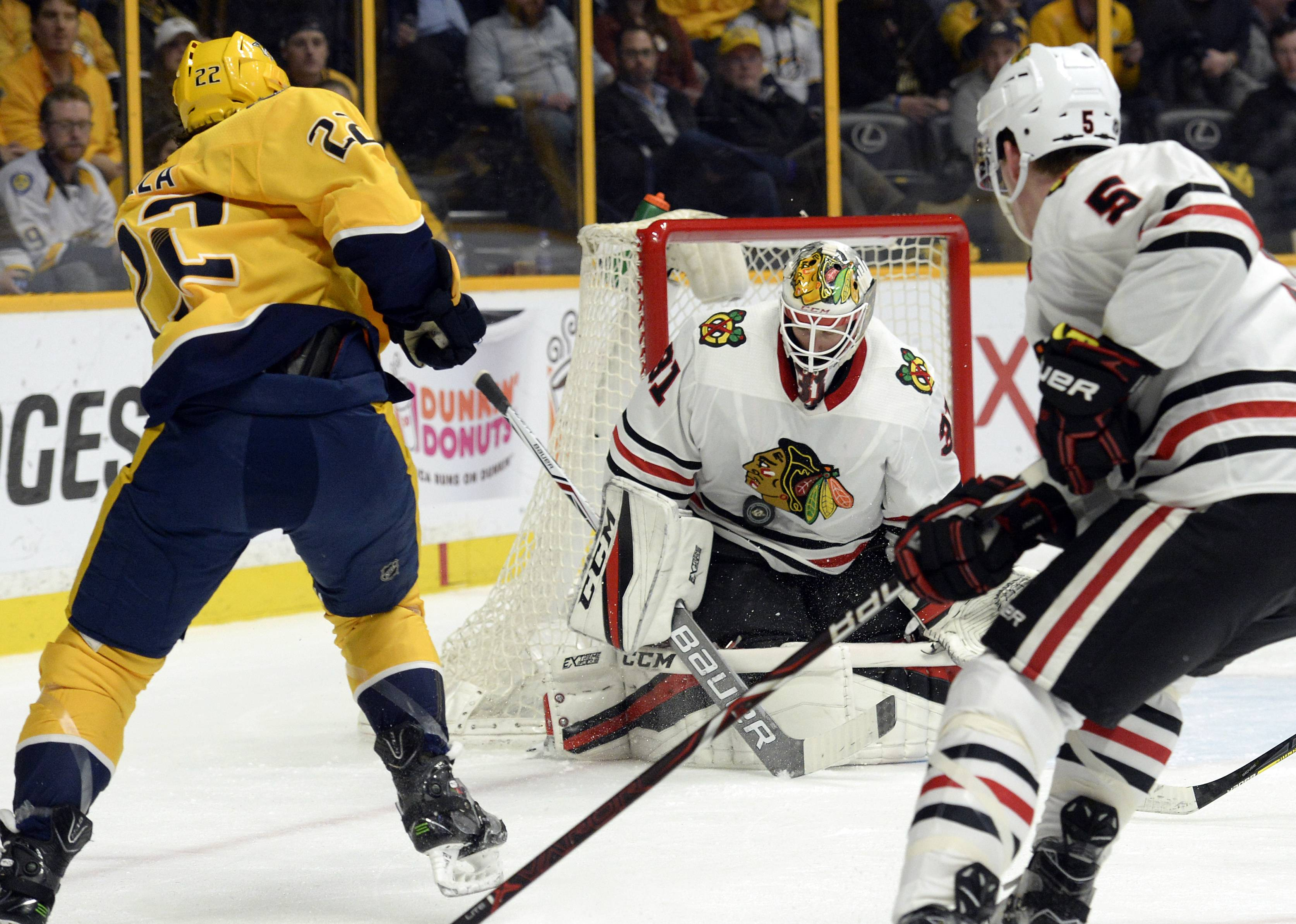 "Goalie Anton Forsberg turned in another impressive performance during the Blackhawks' 2-1 victory over Nashville on Tuesday. Brent Seabrook said: ""He was huge for us tonight."""