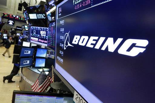 FILE - In this  July 24, 2017 file photo, the Boeing logo appears above a trading post on the floor of the New York Stock Exchange.  Boeing Co.  on Wednesday, Jan. 31, 2018,  reported fourth-quarter profit of $3.13 billion. The Chicago-based company said it had net income of $5.18 per share. Earnings, adjusted for pretax gains, came to $4.80 per share.