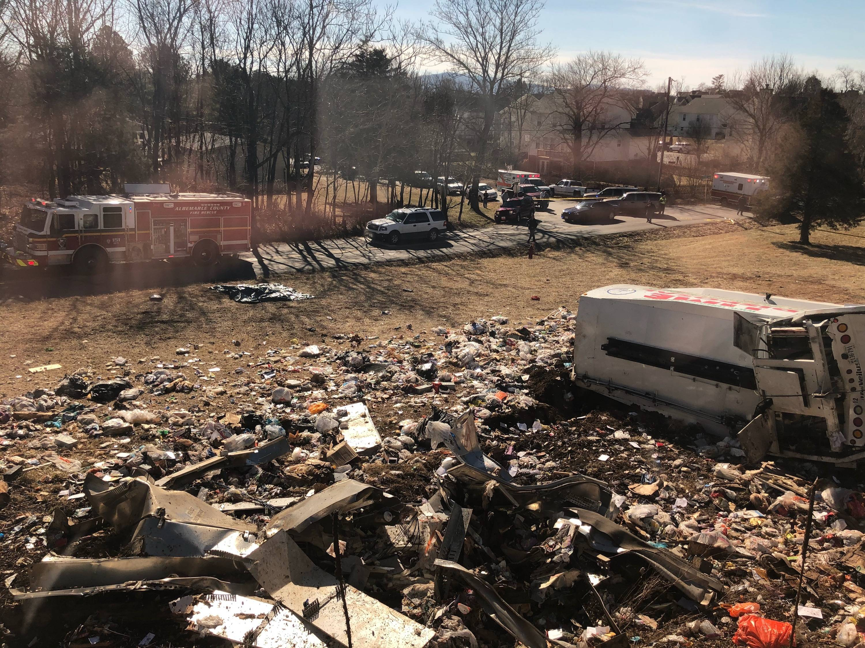 This photo provided by a member of Congress, shows a crash site near Crozet, Va., Wednesday, Jan. 31, 2018.   A chartered train carrying dozens of GOP lawmakers to a Republican retreat in West Virginia struck a garbage truck south of Charlottesville, Virginia on Wednesday, lawmakers said.