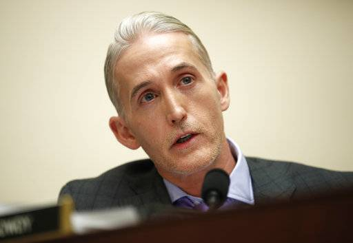 FILE - In this Dec. 7, 2017 file photo, House Judiciary Committee member Rep. Trey Gowdy, R-S.C., speaks during a House Judiciary hearing on Capitol Hill in Washington.  Gowdy says he will not seek re-election.
