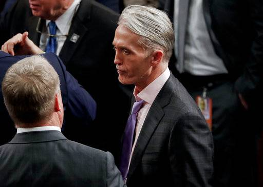 Rep. Trey Gowdy, R-SC., on the House floor for the arrival of President Donald Trump to addresses a joint session of Congress on Capitol Hill in Washington, Tuesday, Jan. 30, 2018. Gowdy, chairman of House Oversight Committee, says he will not seek re-election.