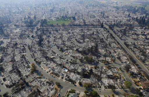 FILE -- In this Oct. 11, 2017 file photo, homes burned by a wildfire are seen in Santa Rosa, Calif. Insurance claims for last year's deadly California wildfires have reached $11.8 billion, Insurance Commissioner Dave Jones said Wednesday, Jan. 31, 2018.