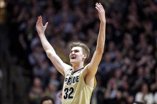 Purdue forward Matt Haarms celebrates during the first half of the team's NCAA college basketball game against Maryland in West Lafayette, Ind., Wednesday, Jan. 31, 2018.
