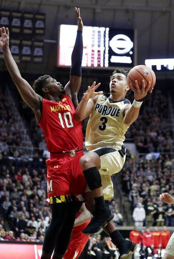 Purdue guard Carsen Edwards (3) shoots over Maryland guard Darryl Morsell (10) during the second half of an NCAA college basketball game in West Lafayette, Ind., Wednesday, Jan. 31, 2018.
